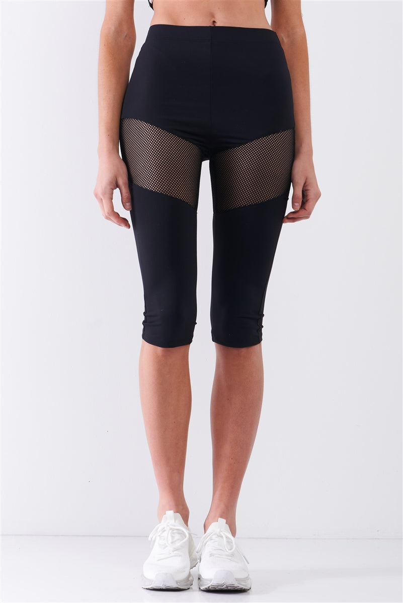 Black Sports Midi Legging Pants