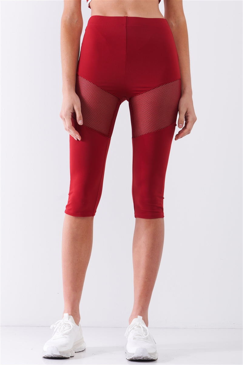 Red High waist Sports Midi Legging Pants