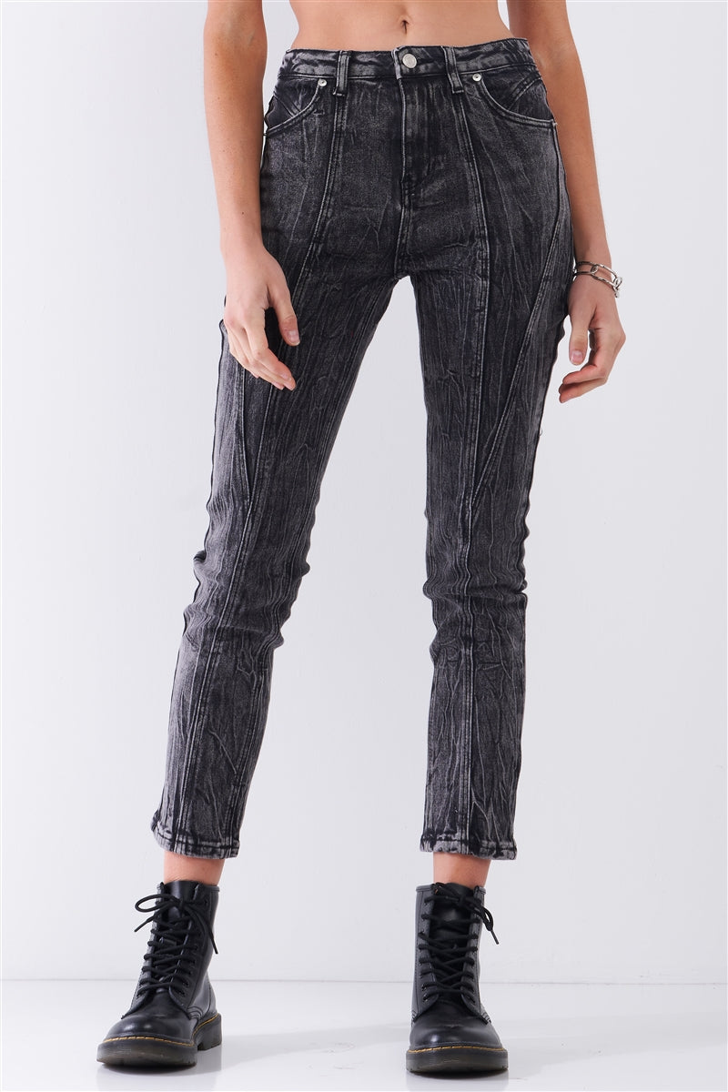 Black Acid Wash Women's Denim Pants