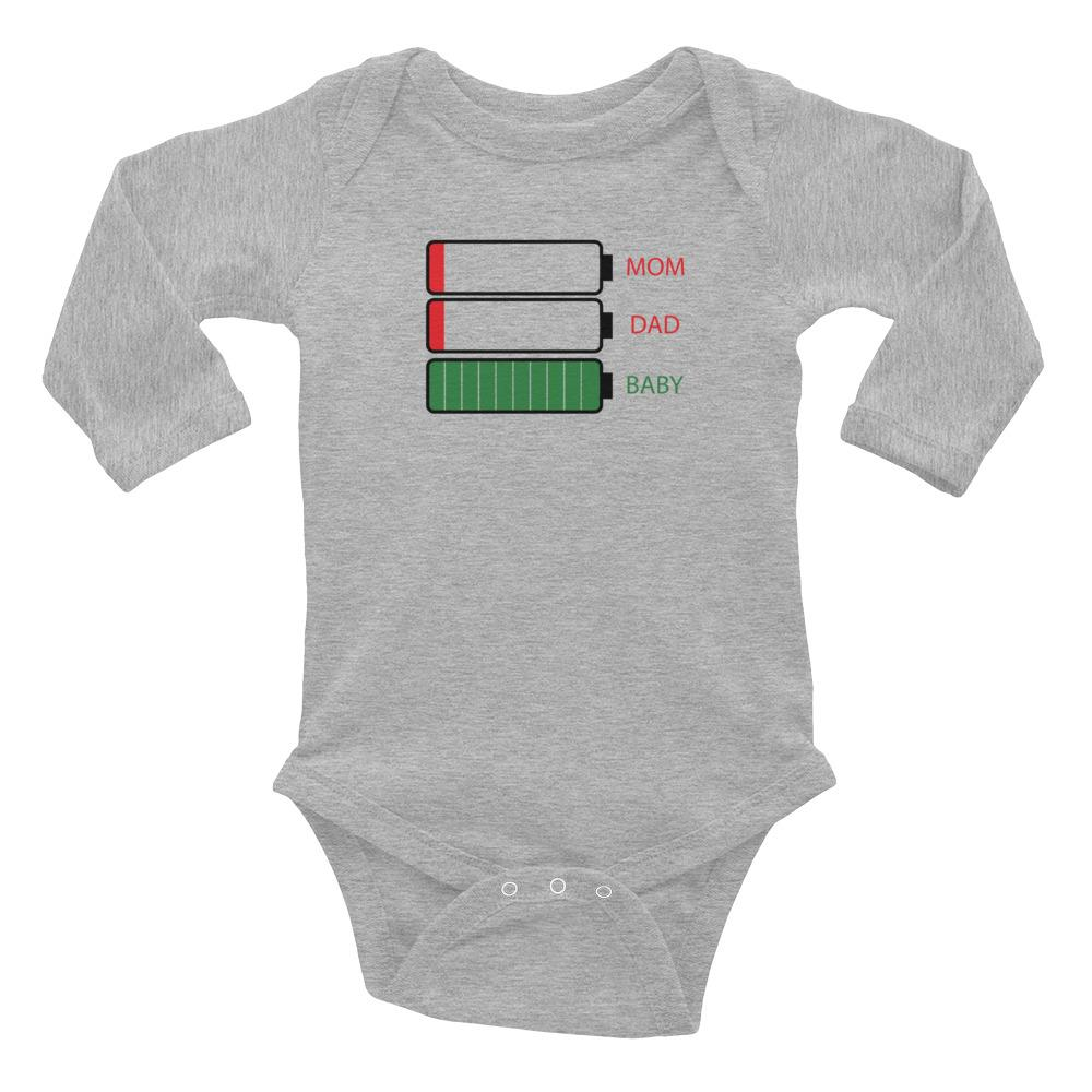 """Low battery"" Infant Long Sleeve Bodysuit - Kerassi"