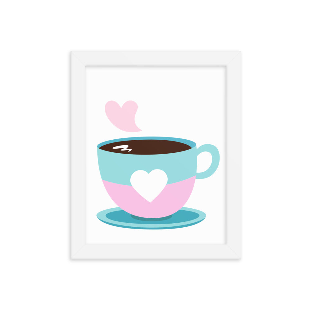 """Coffee Time"" Framed Multicolored Poster - Kerassi"