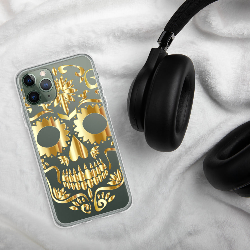 """Golden Skull"" Sleek iPhone Case BPA Free - Kerassi"