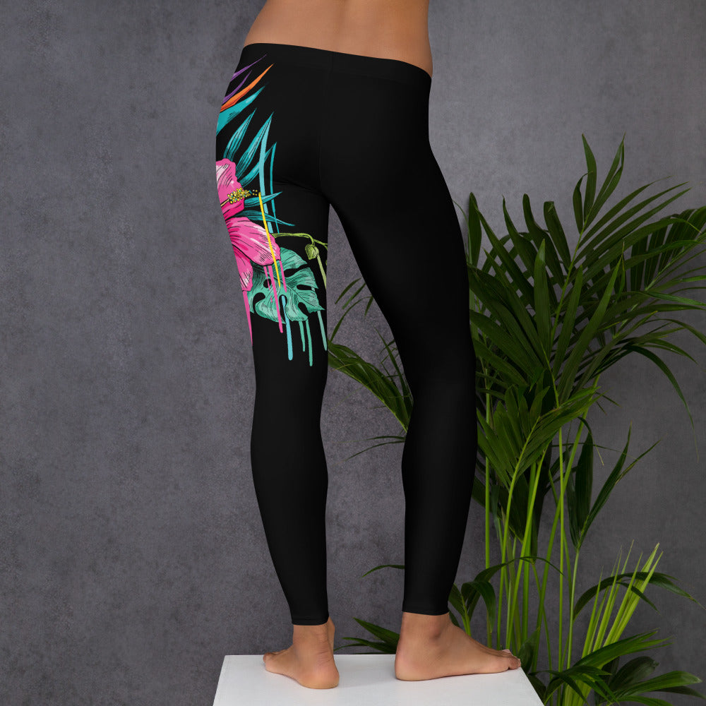 """Hawaii Print"" Summer Inspired Long Length Leggings - Kerassi"