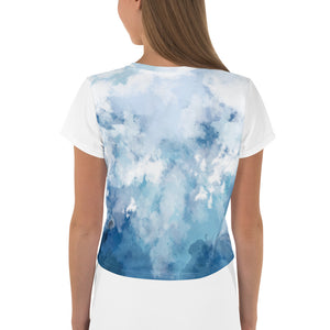 """Cloudy"" Teen Size Short Sleeve Crop Tee - Kerassi"