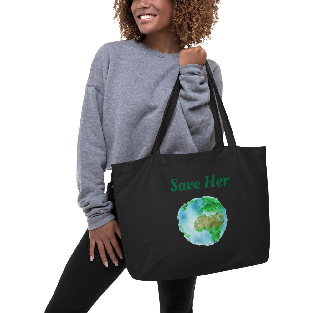 """Save The Planet"" Large Organic Tote Bag - Kerassi"