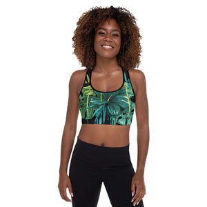 """Tropical Print"" Padded Sports Bra - Kerassi"