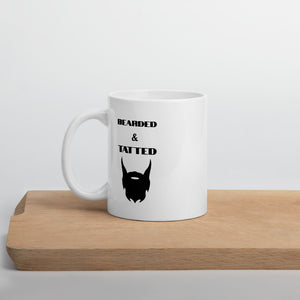 """Bearded & Tatted"" Black & White Funny Dad Mug - Kerassi"