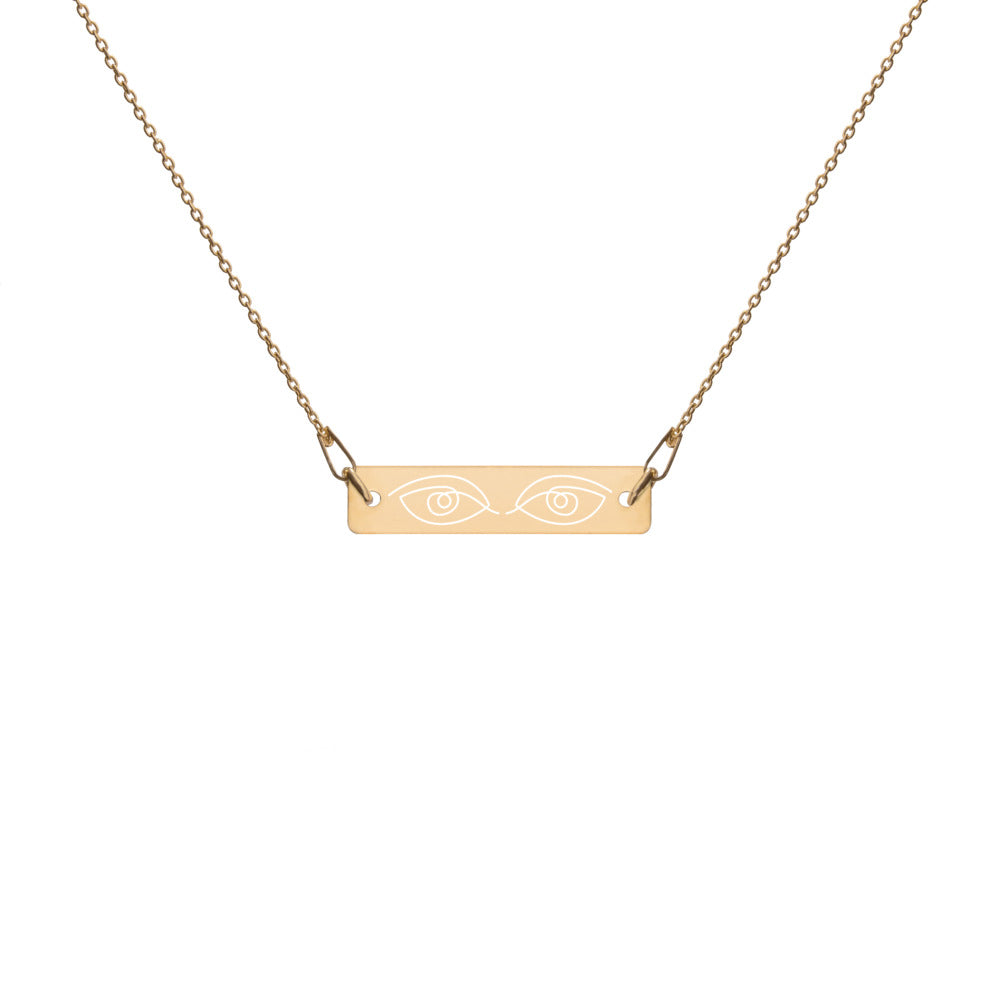 "Engraved ""Iris""  Silver Bar Chain Necklace - Kerassi"