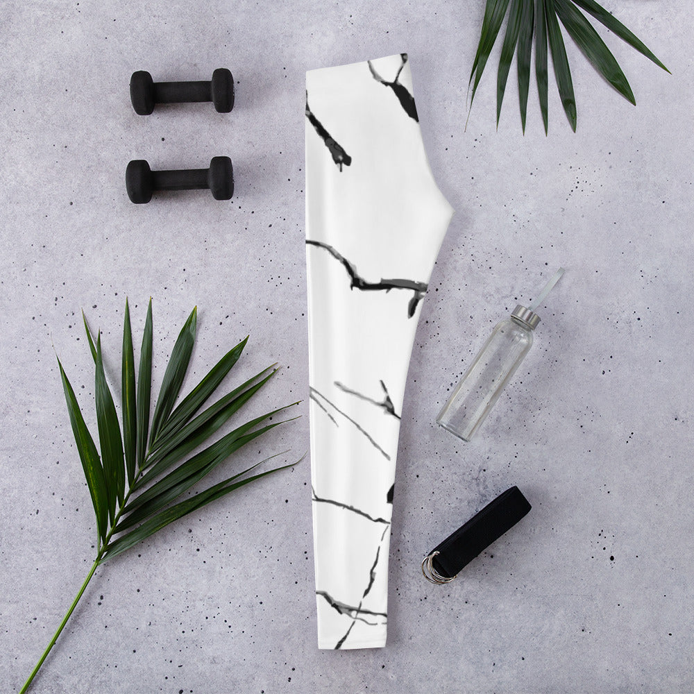 """B & W"" Marble Print Women's Long Leggings - Kerassi"