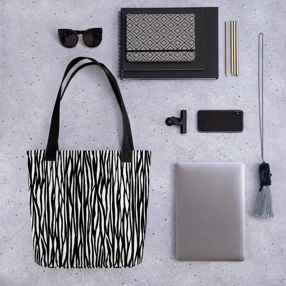 """Zebra Animal Print"" Tote bag with 3 color handle options - Kerassi"