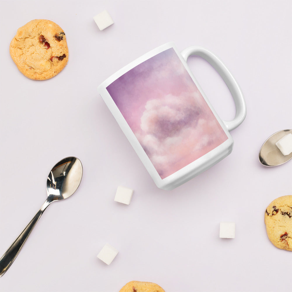 """Cloud 9"" Pink Cloudy Sky Inspired Ceramic Mug - Kerassi"