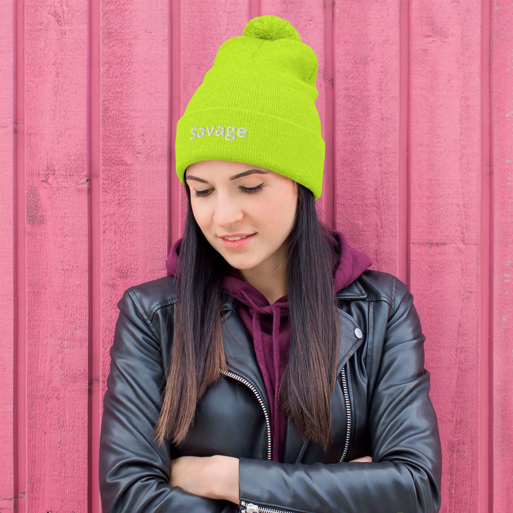 """Savage"" Unisex Pom-Pom Beanie One Size Fits All - Kerassi"