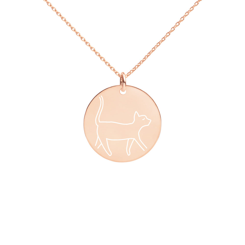 """Meow"" Engraved Silver Disc Necklace - Kerassi"