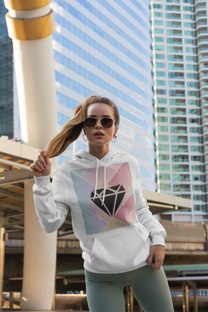 """Diamond"" Unisex Long Sleeve Hoodie With Pouch - Kerassi"
