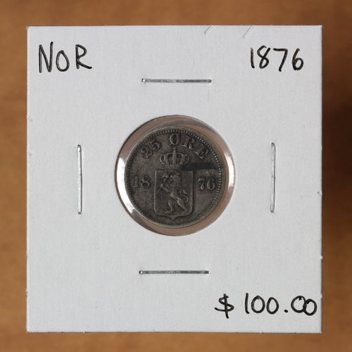 1876 - Norway - 25 Ore - EF40