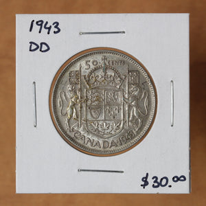 1943 DD - Canada - 50c - EF40 ON SALE!