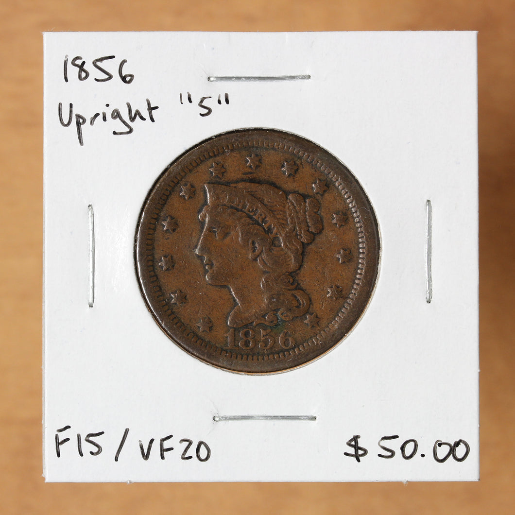 SOLD - 1856 Upright 5 - USA - 1c - F15/VF20