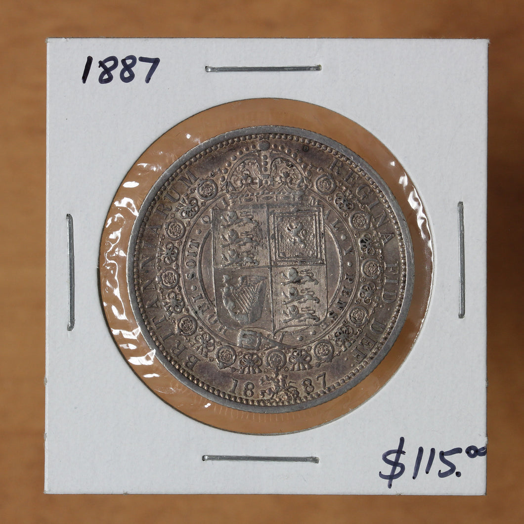1887 - Great Britain - 1/2 Crown - AU50