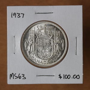 SOLD - 1937 - Canada - 50c - MS63 - retail $100