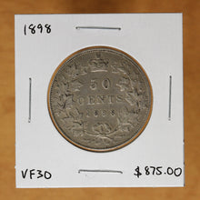 Load image into Gallery viewer, 1898 - Canada - 50c - VF30 - retail $875 - 30% OFF!