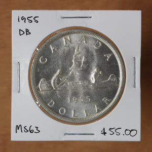 SOLD - 1955 - Canada - $1 - DB - MS63 - retail $55