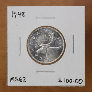 SOLD - 1948 - Canada - 25c - MS62 - retail $100