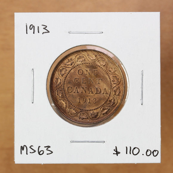 SOLD - 1913 - Canada - 1c - MS63 - retail $110