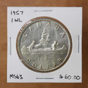 SOLD - 1957 - Canada - $1 - 1 WL - MS63