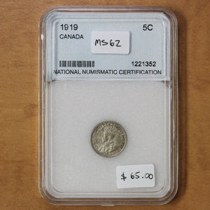 SOLD - 1919 - Canada - 5c - MS62 - retail $65