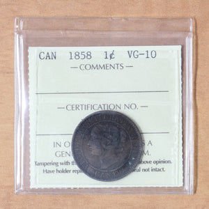 SOLD - 1858 - Canada - 1c - VG10 ICCS - retail $120
