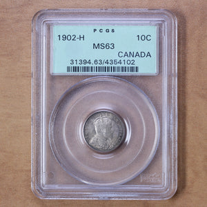 SOLD - 1902 H - Canada - 10c - MS63 PCGS - retail $400