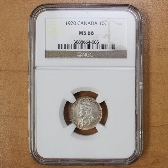 1920 - Canada - 10c - MS66 NGC - SOLO FINEST by NGC - retail $1500