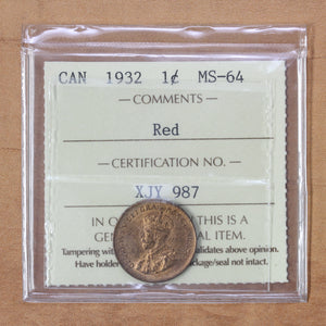 SOLD - 1932 - Canada - 1c - MS64 (Red) ICCS - retail $275