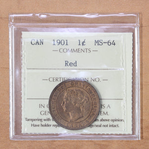 1901 - Canada - 1c - MS64 (Red) ICCS - retail $250