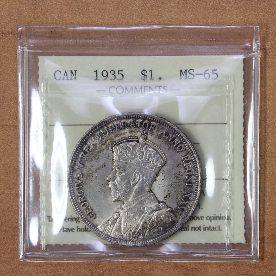1935 - Canada - $1 - MS65 ICCS - retail $250 - 25% OFF!