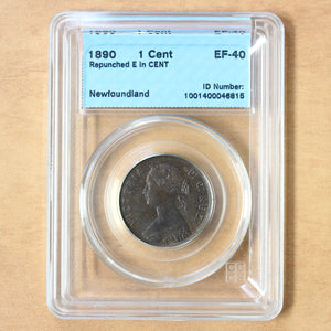 "1890 - Newfoundland - 1c - Repunched ""E"" in ""CENT"" - EF40 CCCS"