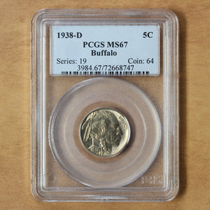 SOLD - 1938 D - USA - 5c - MS67 PCGS