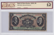 Load image into Gallery viewer, SOLD - 1935 - The Bank of Nova Scotia - $5 - F12 BCS