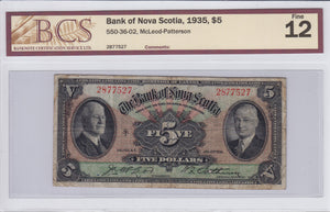 SOLD - 1935 - The Bank of Nova Scotia - $5 - F12 BCS