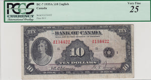 1935 - Bank of Canada - $10 - VF25 PCGS - retail $775