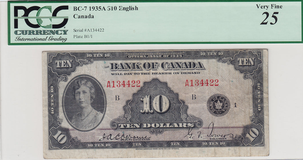 1935 - Bank of Canada - 10 Dollars - Osborne / Towers - retail $775