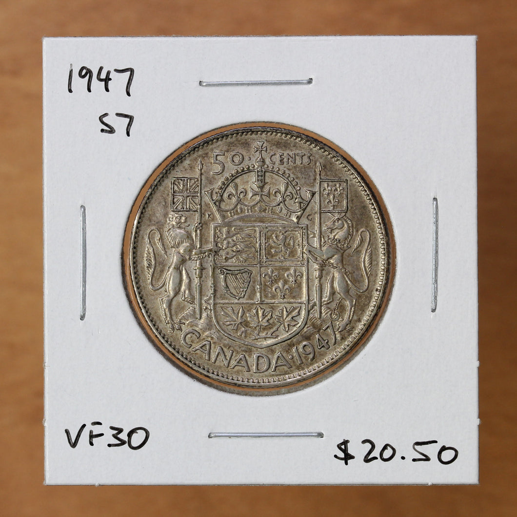 SOLD - 1947 - Canada - 50c - S7 - VF30 - retail $20.50