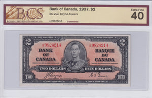 SOLD - 1937 - Bank of Canada - $2 - EF40 BCS - retail $100