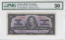Load image into Gallery viewer, SOLD - 1937 - Bank of Canada - $10 - VF30 PMG