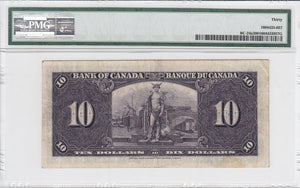 SOLD - 1937 - Bank of Canada - $10 - VF30 PMG