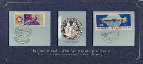 SOLD - 1975 Apollo-Soyuz Space Mission Coin & Stamp Set
