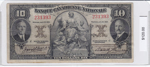 SOLD - 1935 - Banque Canadienne Nationale - $10 - F