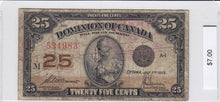 Load image into Gallery viewer, 1923 - Canada - 25 Cents - 534983/M