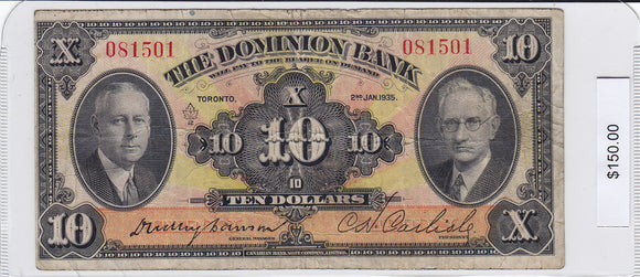 1935 - The Dominion Bank - 10 Dollars - 081501