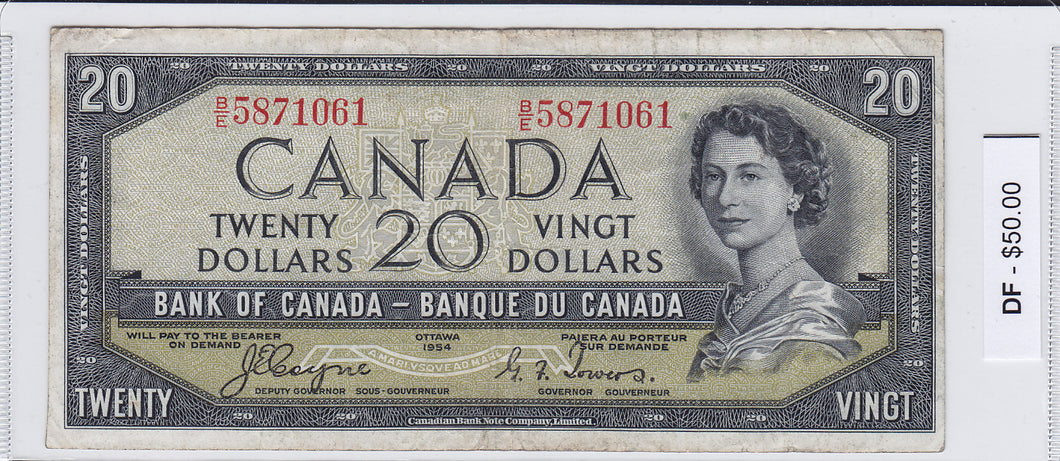 SOLD - 1954 - Canada - Devil's Face - 20 Dollars